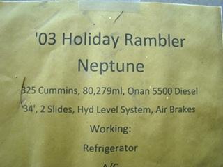 2003 HOLIDAY RAMBLER NEPTUNE PARTS